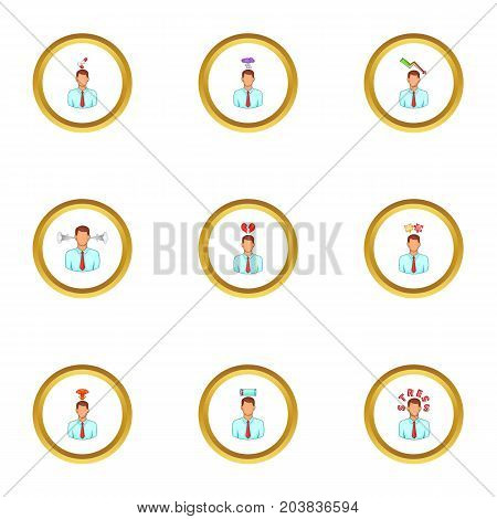 Loss of motivation icons set. Cartoon set of 9 loss of motivation vector icons for web isolated on white background
