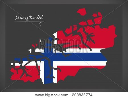 More Og Romsdal Map Of Norway With Norwegian National Flag Illustration