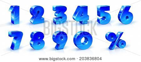 Set of blue numbers 1, 2, 3, 4, 5, 6, 7, 8, 9, 0 and percent sign. 3d illustration. Suitable for use on advertising banners posters flyers promotional items