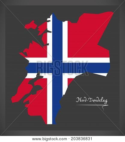 Nord-trondelag Map Of Norway With Norwegian National Flag Illustration