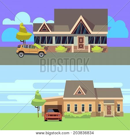 Vector horizontal banners set with houses with cars. Flat vector illustration. Home with car, cottage residential and garage