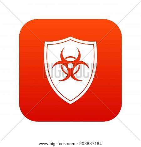 Shield with a biohazard sign icon digital red for any design isolated on white vector illustration