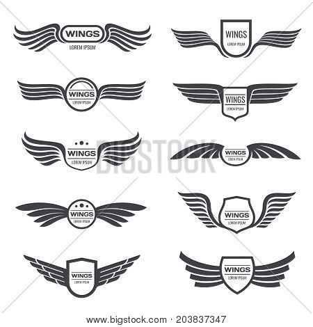 Flying eagle wings vector logos set. Vintage winged emblems and labels. Illustration eagle vintage wings emblem