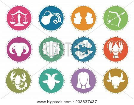 Horoscope zodiac vector signs. Astrology symbols set scorpio and gemini, aquarius and libra, capricorn and pisces illustration