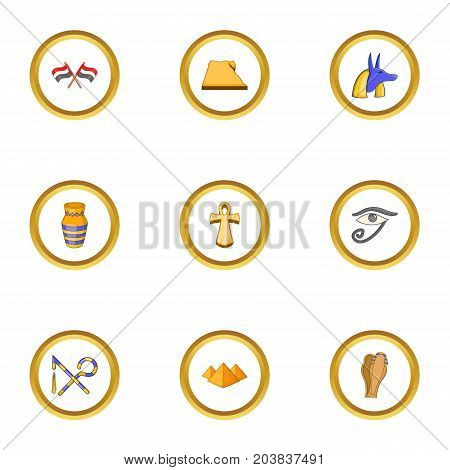 Egypt archeology icons set. Cartoon set of 9 Egypt archeology vector icons for web isolated on white background