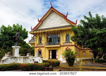 Nan Thailand- December 16 2016: The building of Nan National Museum was partly closed during the renovation. It was the old residence of former ruler of Nan city which was built in the 16th century.
