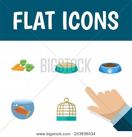 Flat Icon Pets Set Of Bird Prison, Fishbowl, Feeding And Other Vector Objects