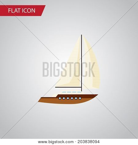 Yacht Vector Element Can Be Used For Yacht, Boat, Ship Design Concept.  Isolated Sailboat Flat Icon.