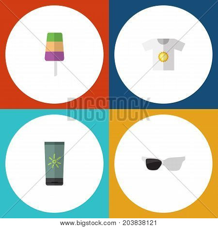 Flat Icon Summer Set Of Moisturizer, Clothes, Sundae And Other Vector Objects