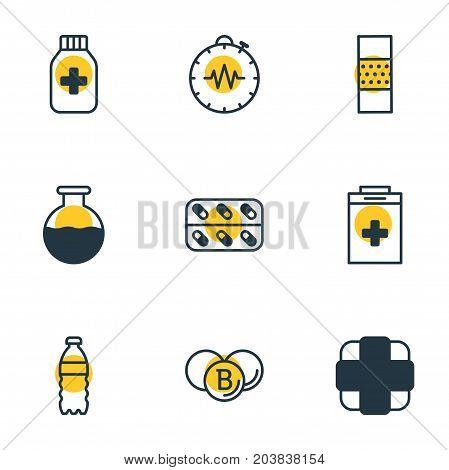 Editable Pack Of Band Aid, Pressure Gauge, Plastic Bottle Elements.  Vector Illustration Of 9 Health Icons.