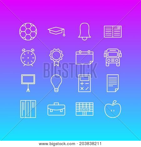 Editable Pack Of Car, Football, Textbook And Other Elements.  Vector Illustration Of 16 Education Icons.