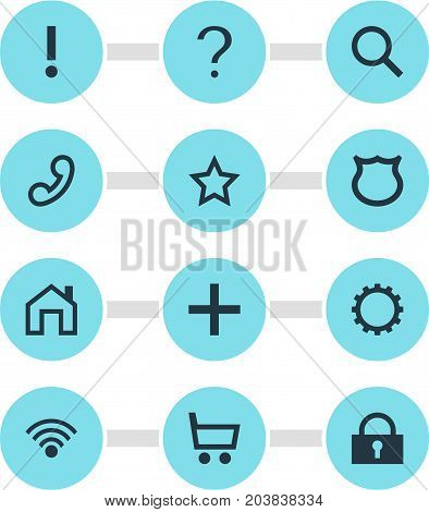 Editable Pack Of Cordless Connection, Asterisk, Padlock And Other Elements.  Vector Illustration Of 12 User Icons.