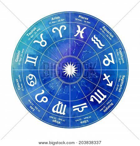Circle With Signs Of Zodiac On Watercolor Background. Vector Illustration.