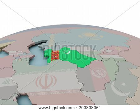 Political Map Of Turkmenistan On Globe With Flag