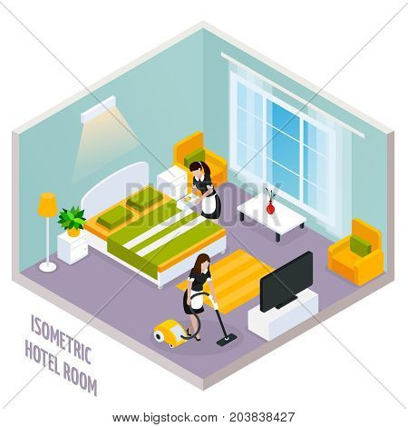 Colored isometric hotel room interior with walls and also there is a cleaning of the room vector illustration