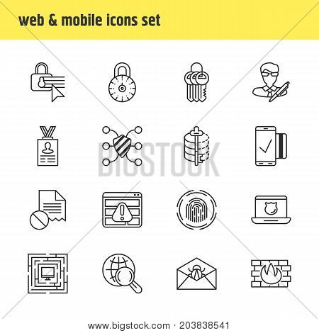 Editable Pack Of Encoder, Data Error, Internet Surfing And Other Elements.  Vector Illustration Of 16 Protection Icons.