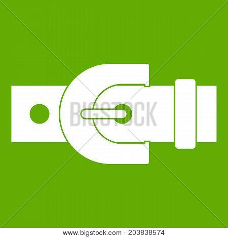 Buckle icon white isolated on green background. Vector illustration