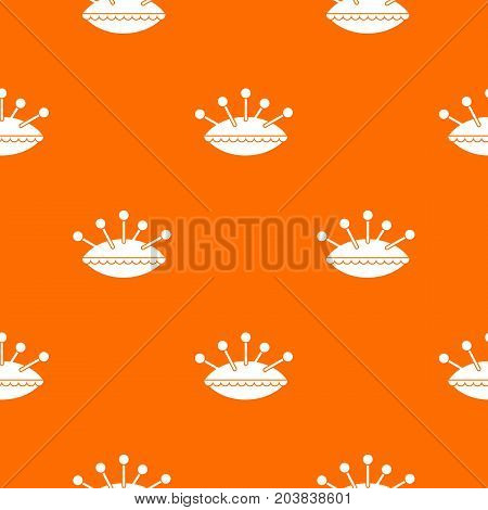 Pillow with needles pattern repeat seamless in orange color for any design. Vector geometric illustration