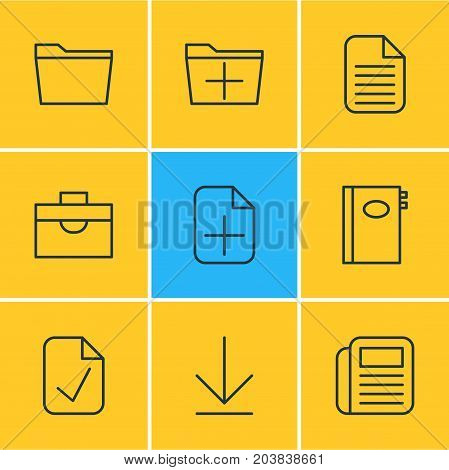Editable Pack Of Portfolio, Book, Downloading And Other Elements.  Vector Illustration Of 9 Workplace Icons.
