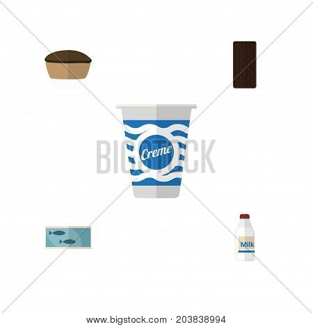 Flat Icon Meal Set Of Tart, Bottle, Tin Tuna And Other Vector Objects