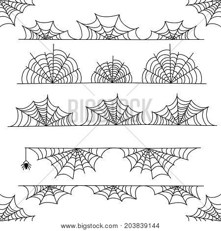 Halloween cobweb vector frame border and dividers isolated on white with spider web for spiderweb scary design