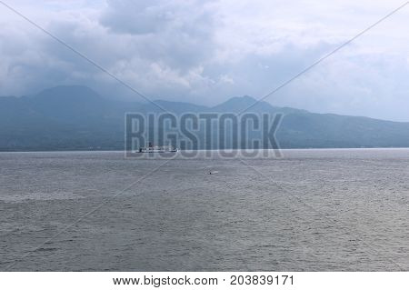 White Liner In The Background Of The Island In The Philippines