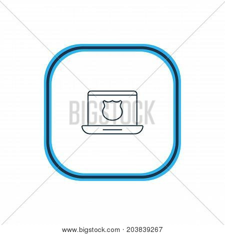 Beautiful Internet Element Also Can Be Used As Secure Laptop Element.  Vector Illustration Of Safe Computer Outline.