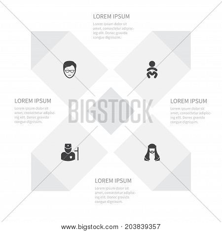 Icon Human Set Of Young Person, Baby, Mussulman And Other Vector Objects