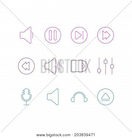 Editable Pack Of Reversing, Lag, Mike And Other Elements.  Vector Illustration Of 12 Music Icons.
