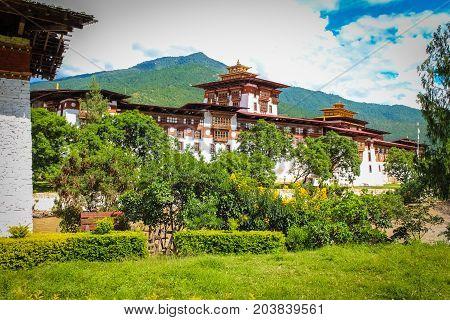 Punakha Dzong Temple (Pungthang Dechen Phodrang Dzong - Palace of Great Happiness) Bhutan. Punakha Dzong located on the river bank of ancient capital of Bhutan