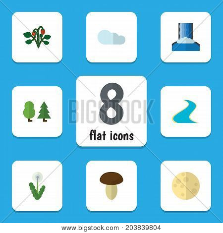 Flat Icon Natural Set Of Overcast, Berry, Cascade And Other Vector Objects