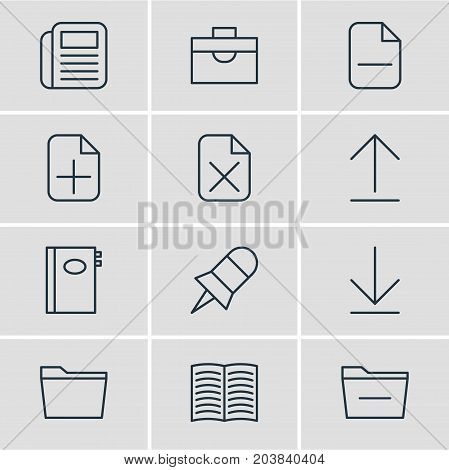 Editable Pack Of Journal, Deleting Folder, Downloading And Other Elements.  Vector Illustration Of 12 Workplace Icons.