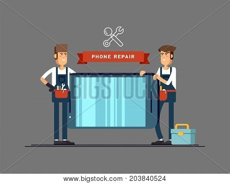 Vector illustration of male masters repairing broken mobile phone. Friendly smiling service engineer professional holding tool and smartphone