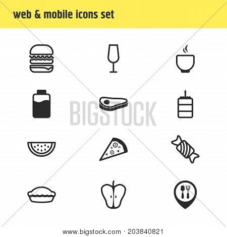 Editable Pack Of Pastry, Restaurant, Candy Elements.  Vector Illustration Of 12 Meal Icons.