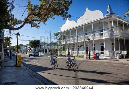 KEY WEST, FLORIDA USA - JANUARY 18, 2017: The historic and popular center and Duval Street in downtown Key West. Beautiful small town in Florida