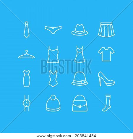 Editable Pack Of Singlet, Fedora, Cravat And Other Elements.  Vector Illustration Of 16 Dress Icons.