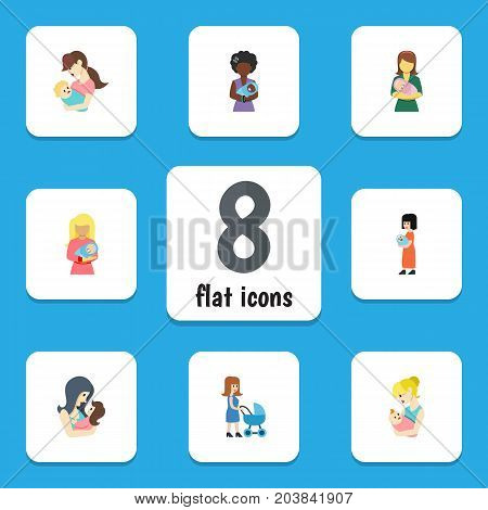 Flat Icon Mam Set Of Mam, Newborn Baby, Parent And Other Vector Objects
