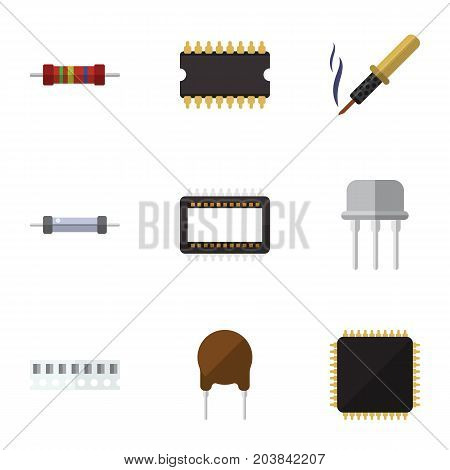Flat Icon Electronics Set Of Repair, Cpu, Triode And Other Vector Objects