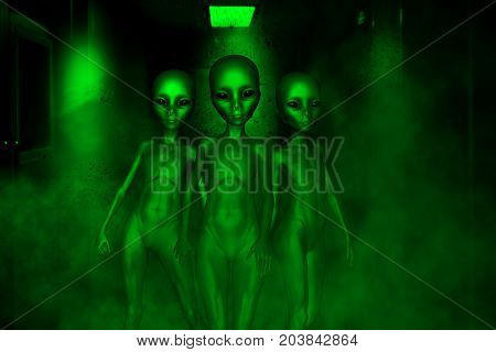 Alien invasion,3D illustration sci-fi fiction concept background