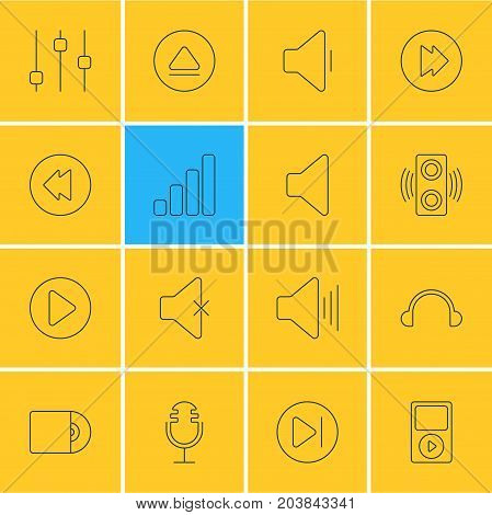 Editable Pack Of Amplifier, Soundless, Mike And Other Elements.  Vector Illustration Of 16 Melody Icons.
