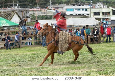 June 3 2017 Machachi Ecuador: indigenous quechua cowboy in field dressed traditionally handling lasso on horseback