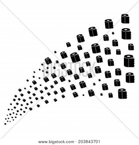 Fountain of toilet paper roll icons. Vector illustration style is flat black iconic toilet paper roll symbols on a white background. Object fountain combined from pictograms.