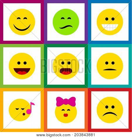 Flat Icon Expression Set Of Laugh, Smile, Wonder And Other Vector Objects
