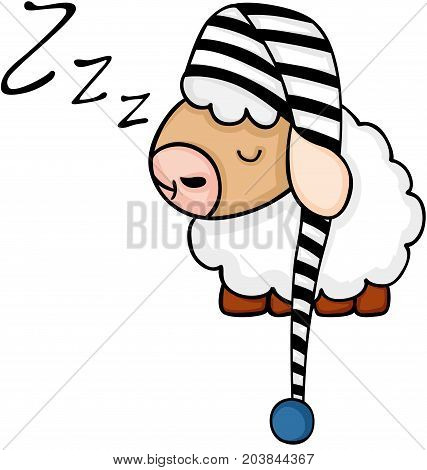 Scalable vectorial image representing a cute sheep sleeping, isolated on white.