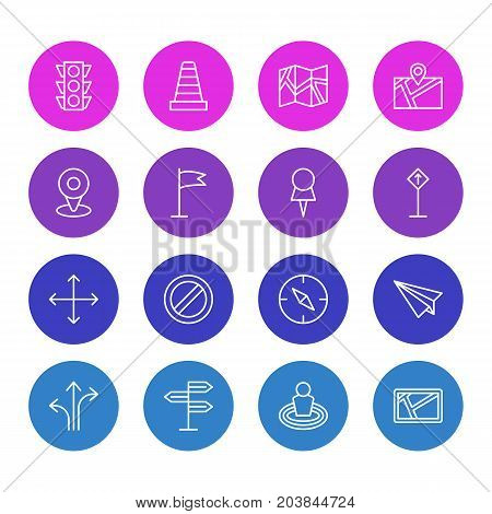 Editable Pack Of Navigation, Stoplight, Block And Other Elements.  Vector Illustration Of 16 Navigation Icons.