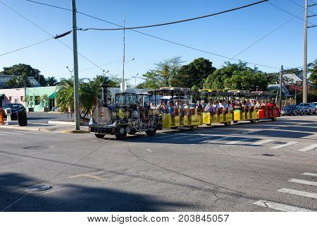 KEY WEST, FLORIDA USA - JANUARY 19, 2017: The Conch Tour Train is a popular tourist attraction in downtown Key West.
