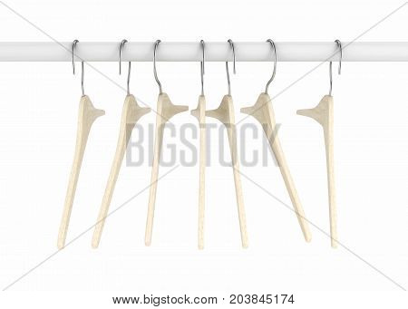 Wooden Clothes Hangers Illustration Of Classic Clothes Hanger Isolated On White 3D