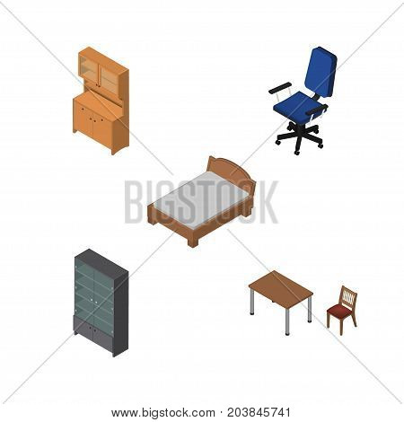 Isometric Furniture Set Of Cupboard, Sideboard, Chair And Other Vector Objects