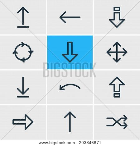 Editable Pack Of Left, Circle , Randomize Elements.  Vector Illustration Of 12 Direction Icons.