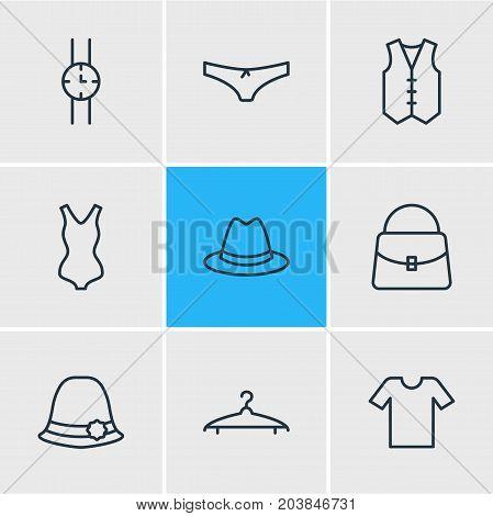 Editable Pack Of Waistcoat, Hand Clock, Panties Elements.  Vector Illustration Of 9 Garment Icons.